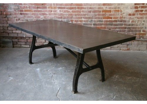 STEEL TABLE W/ VINTAGE LEGS From @Stephanie Cleveland Art