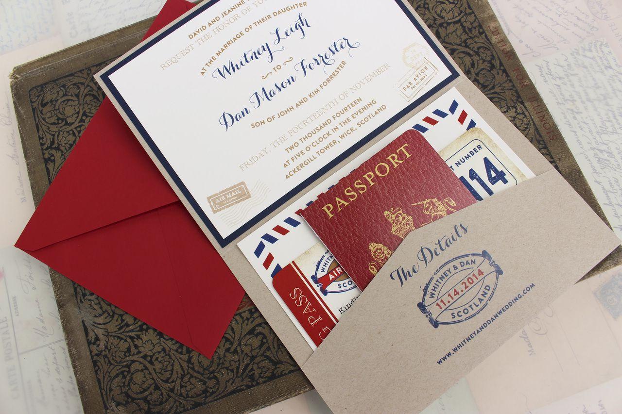 Vintage Air Mail Printed Pocket Fold Wedding Invitation (Scotland ...