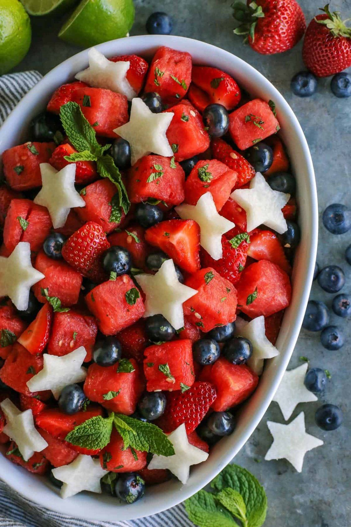Mojito Fruit Salad Recipe With Watermelon Strawberries Blueberries Recipe Fruit Salad Recipes Watermelon Recipes Fruit Recipes