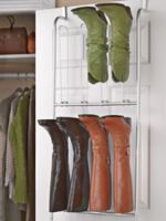 Organize and protect your expensive boots. Over-the-door boot hanger instantly hangs from the door. No installation. Use in any room. Holds 6 pairs of knee-high boots.