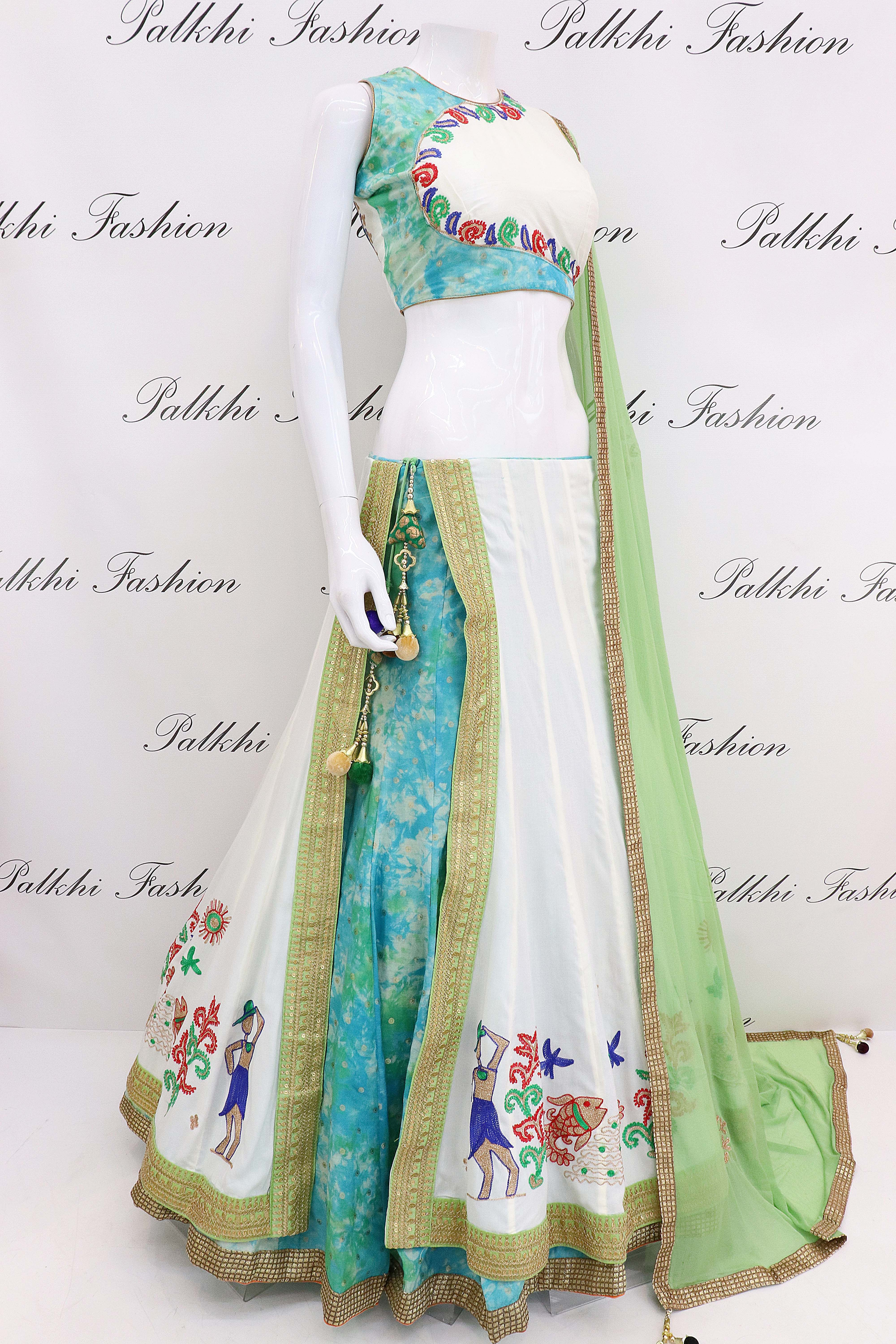 a332a714cf Gorgeous White/Teal Flap Chaniya Choli With Beautiful Color Combination