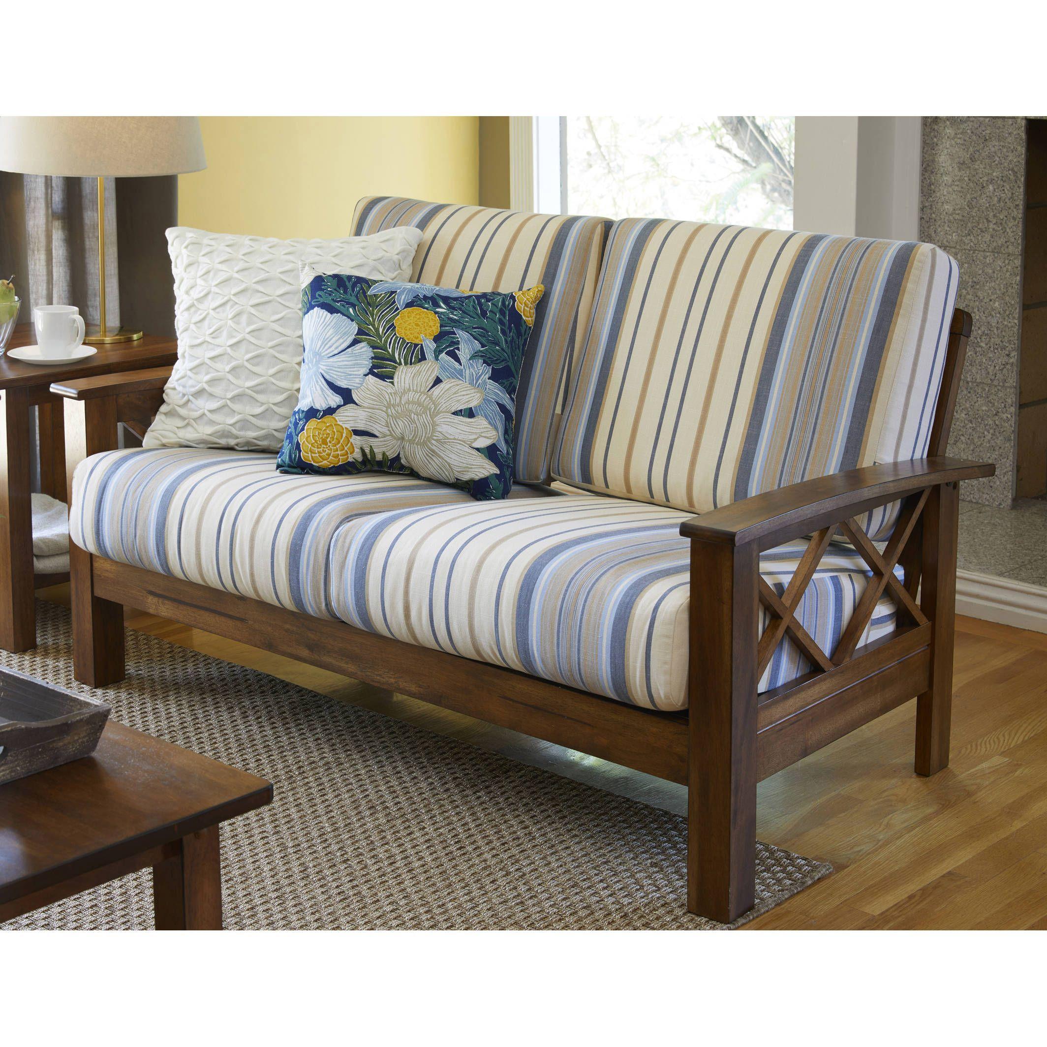 Best Handy Living Virginia Blue Stripe X Design Loveseat With 400 x 300