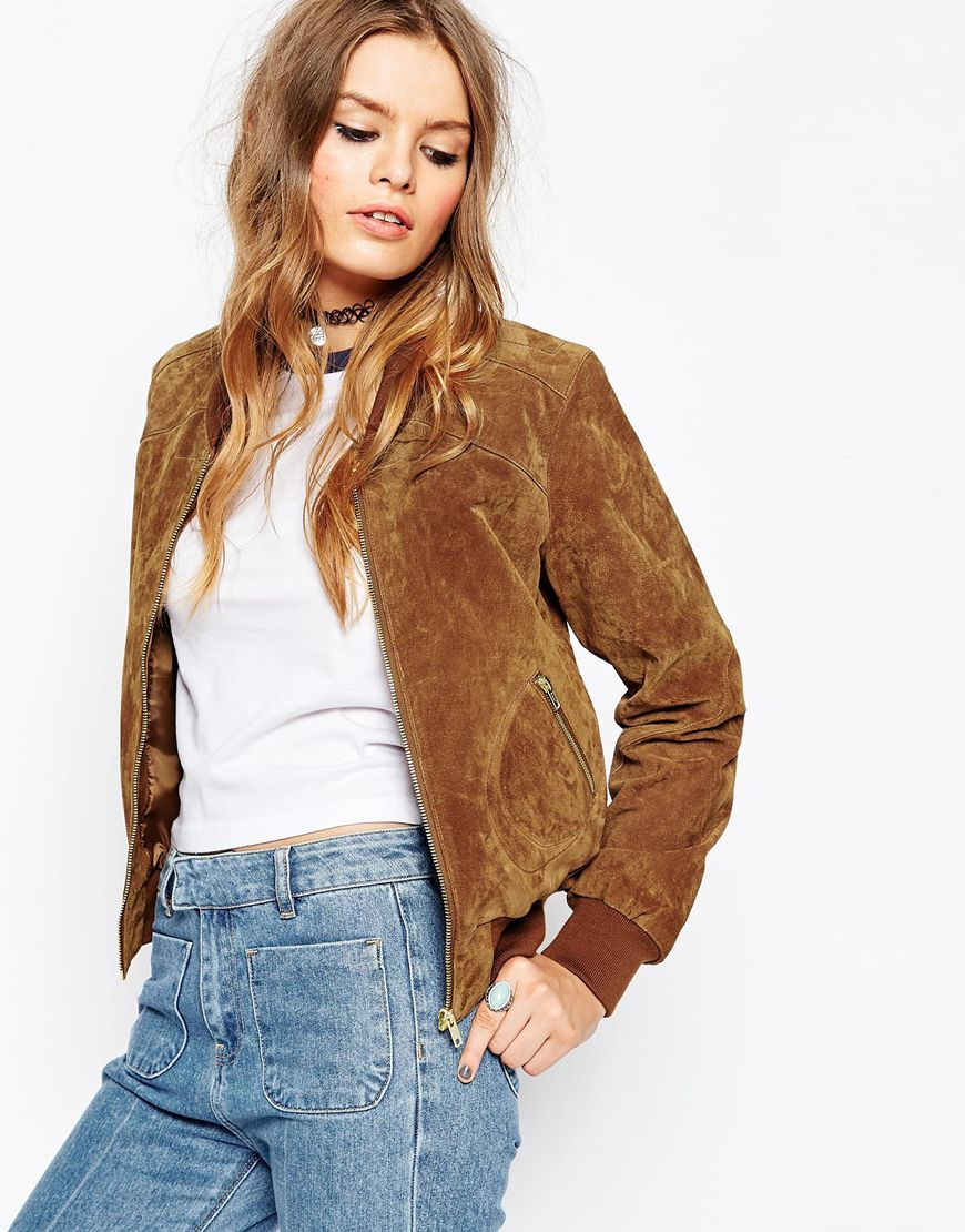 ASOS Suede Bomber With Contrast Rib at asos.com