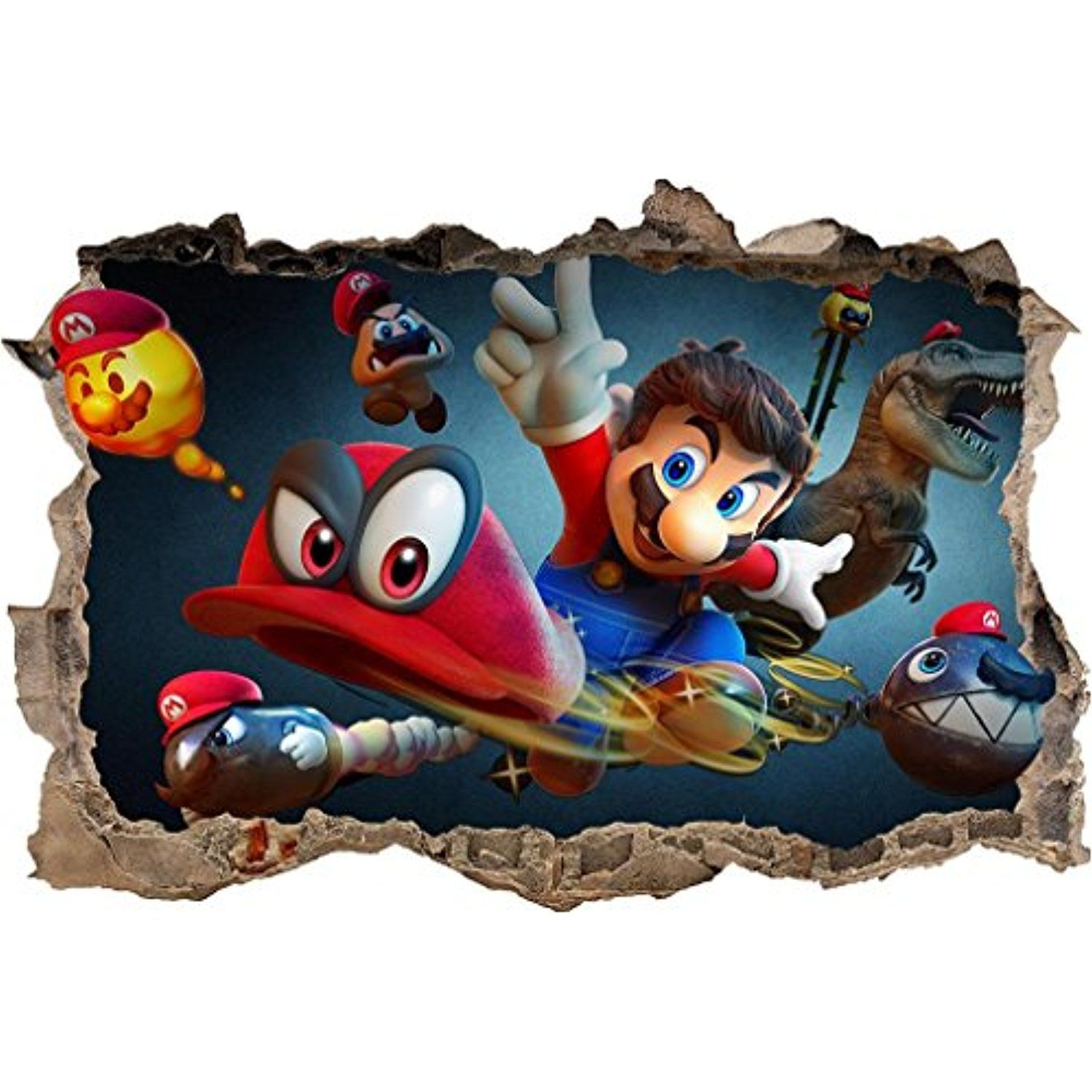 Super Mario Odyssey 3D Smashed Wall Sticker Decal Home
