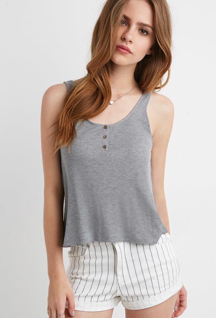 Ribbed Henley Tank Tops Blouses Shirts 2000167397 Forever