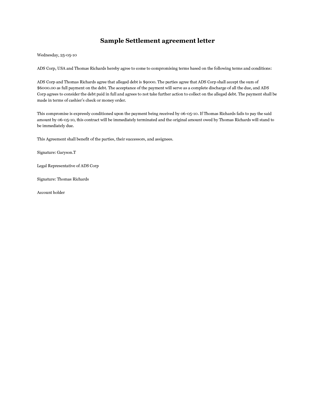 Settlement Agreement Letter  A Debt Settlement Agreement Letter