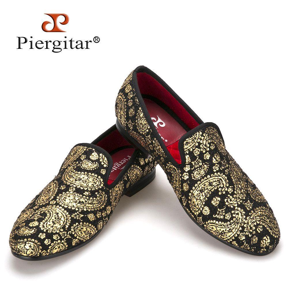 9f2f87e8e02 Piergitar New High-end Gold printing Men Shoes Luxury Fashion Men Loafers  Men s Flats Size US 4-17 Free shippi…