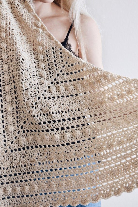 CROCHET PATTERN ⨯ Lace Shawl Crochet Pattern, Triangle Scarf Crochet Pattern ⨯ Crochet Triangle Wrap Scarf, Easy Scarf Crochet Pattern