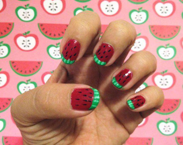 Kids Nail Art Watermelon Design