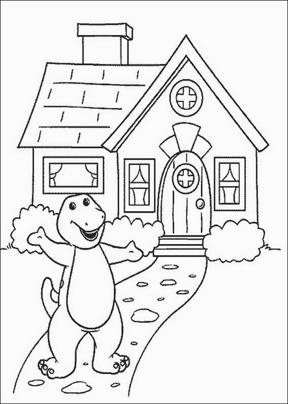 Barney House Coloring Page Hellocoloring Com Hellocoloring Com