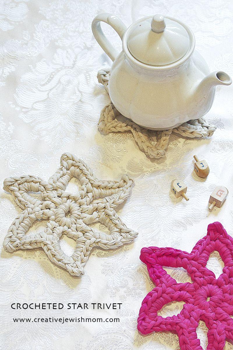 Crocheted T shirt yarn star trivet quick gift | Crocheting ...