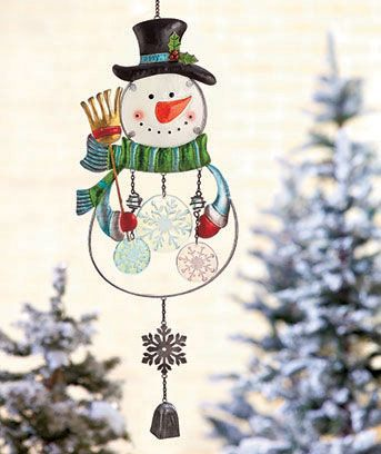 Snowman 154774012 In Stock $11.95 each Fill your outdoor space with a cheery ambiance using this Holiday Glass Wind Chime. Made of colored fusion glass, it features your favorite Christmas character and seasonal chimes that create pleasant sounds in the breeze. A metal snowflake and bell