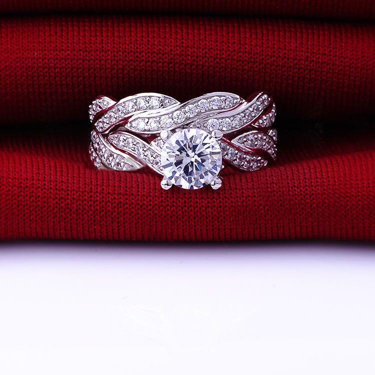 Size 6/78/9 jewelry   10kt white gold filled  white topaz cubic zirconia  Gem women wedding similar diamond  ring set  gift