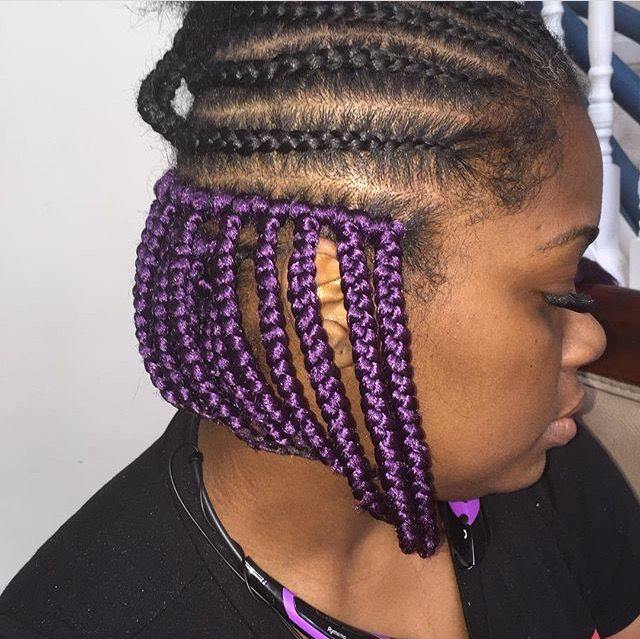 Crochet Box In Purple Box Braids Hairstyles In 2019 Hair Styles