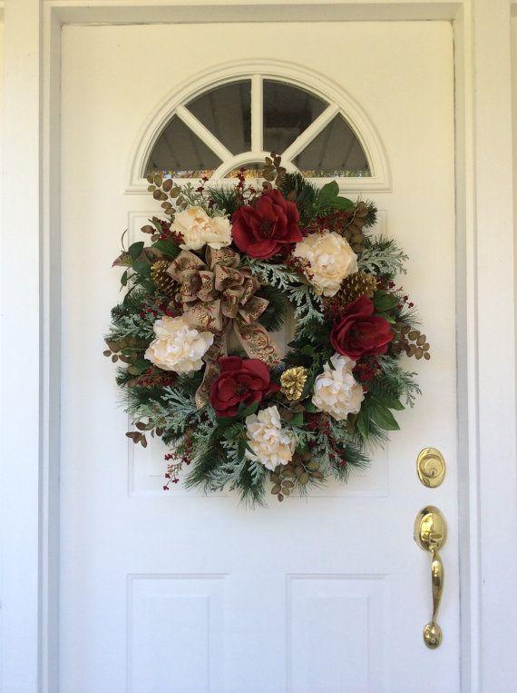 Christmas Wreaths for Front Door-Winter by ReginasGarden on Etsy