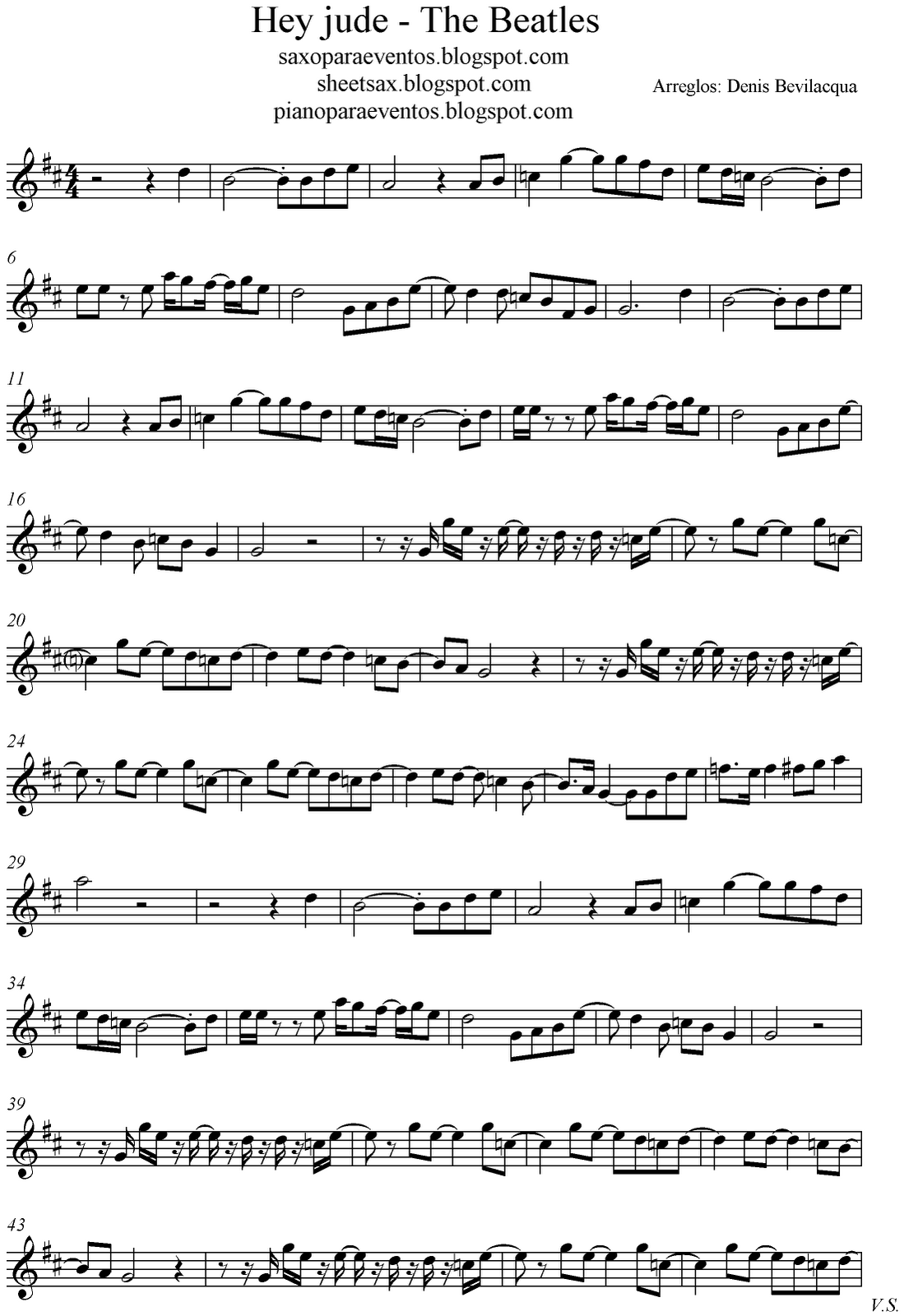 Free sheet music for sax hey jude the beatles score and track sheet