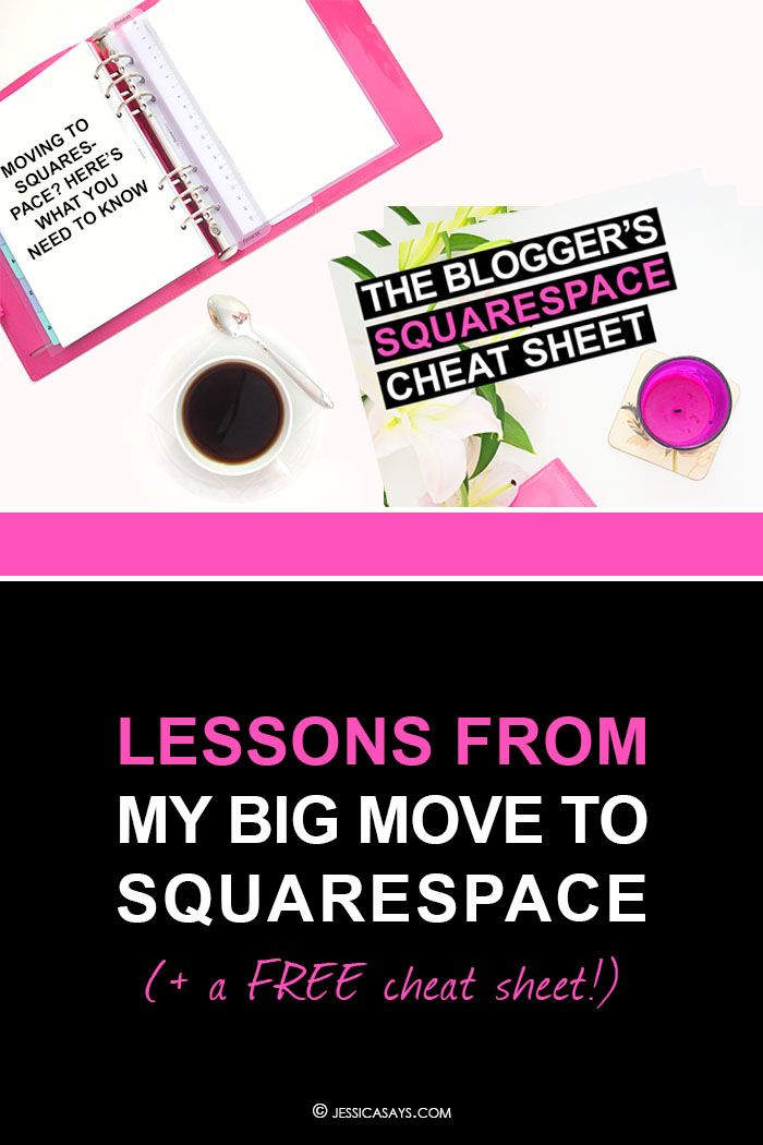 Lessons from My Move to Squarespace (+ Free Cheat Sheet!) | Jessica Says // Wondering whether Squarespace is the right blogging platform for you, or how it compares to Wordpress? I reveal all about my big move in this epic guide (with a free cheat sheet to help you migrate smoothly)!