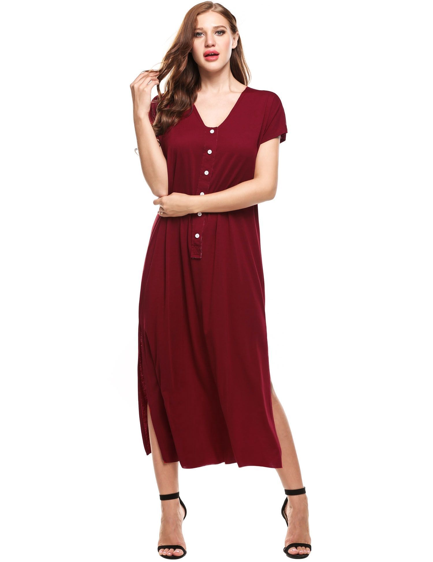 Red short sleeve v neck loose tshirt casual dress reducbrue t