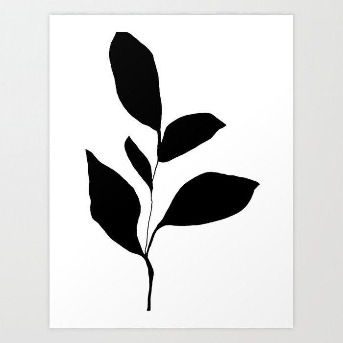 Five Leaf Plant Black Silhouette Art Print by Galleryj9 - X-Small