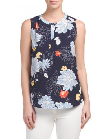 Sleeveless+Floral+Top