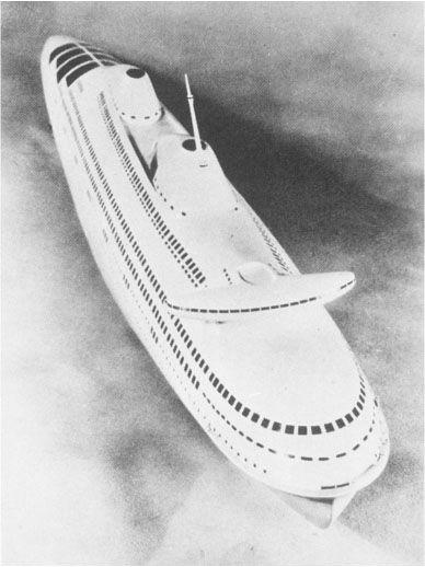 Norman Bel Geddes. Transatlántico aerodinámico. 1932