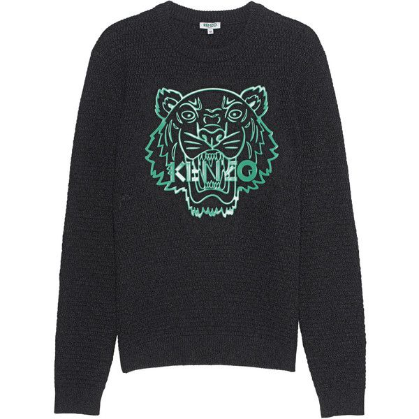KENZO Silicon Tiger Anthracite // Cotton knit sweater ($270) ❤ liked on Polyvore featuring men's fashion, men's clothing, men's sweaters and mens cotton cable knit sweater