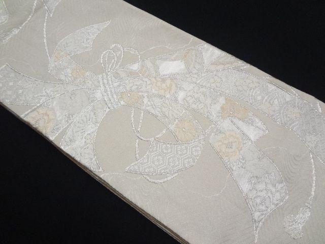 リサイクル 作家物 綴れ束ね熨斗に花模様織り出し全通袋帯