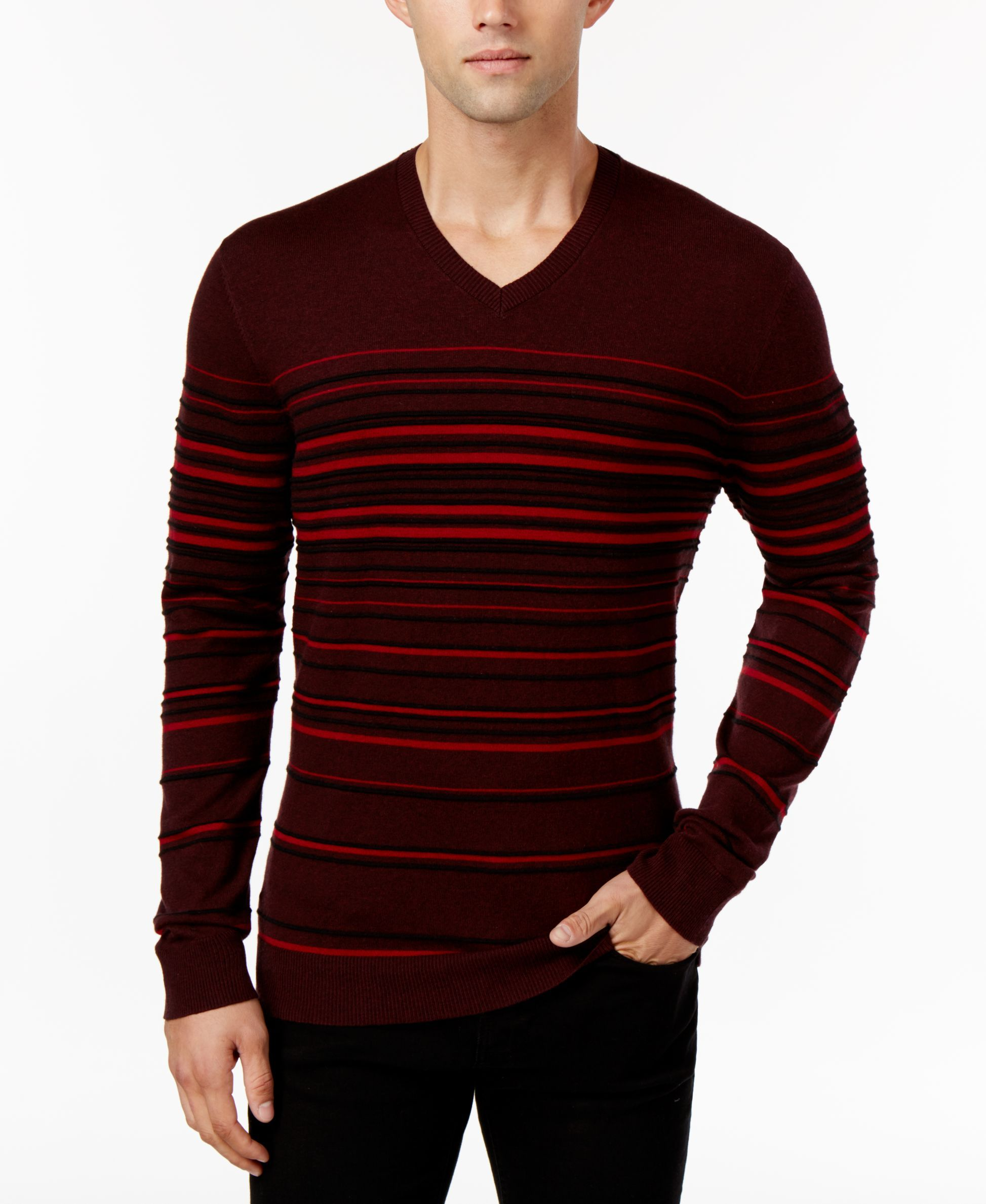 1d246acb28c3 Alfani Men's Striped V-Neck Sweater, Only at Macy's | 1 smocking ...