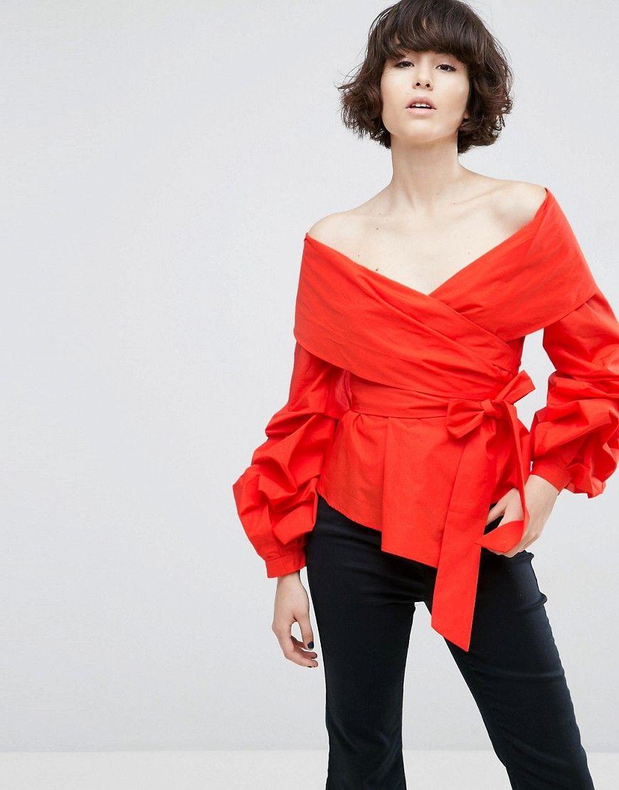 Compra Top hombros descubiertos de mujer color rojo de Asos white al mejor  precio. Compara precios de tops de tiendas online como Asos - Wossel España