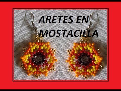 ARETES EN MOSTACILLA 35//aretes pulseras collares en mostacilla - YouTube