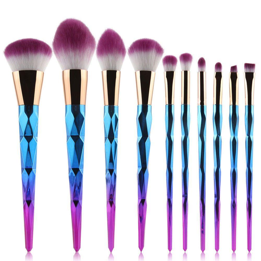 Pro 10Pcs Kabuki Make Up Brushes Makeup Foundation Blusher