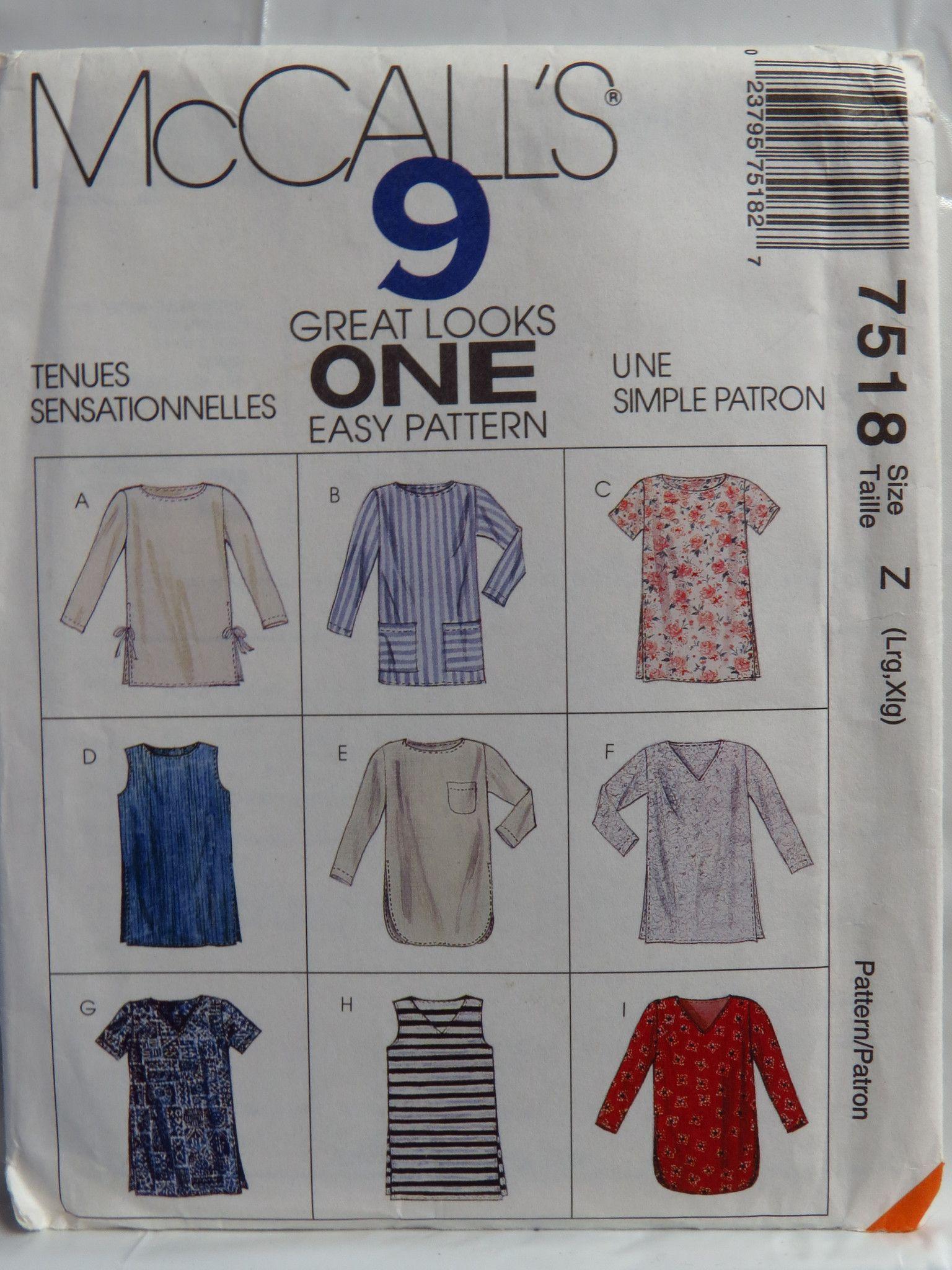 McCall's 7518 Misses' Tunics