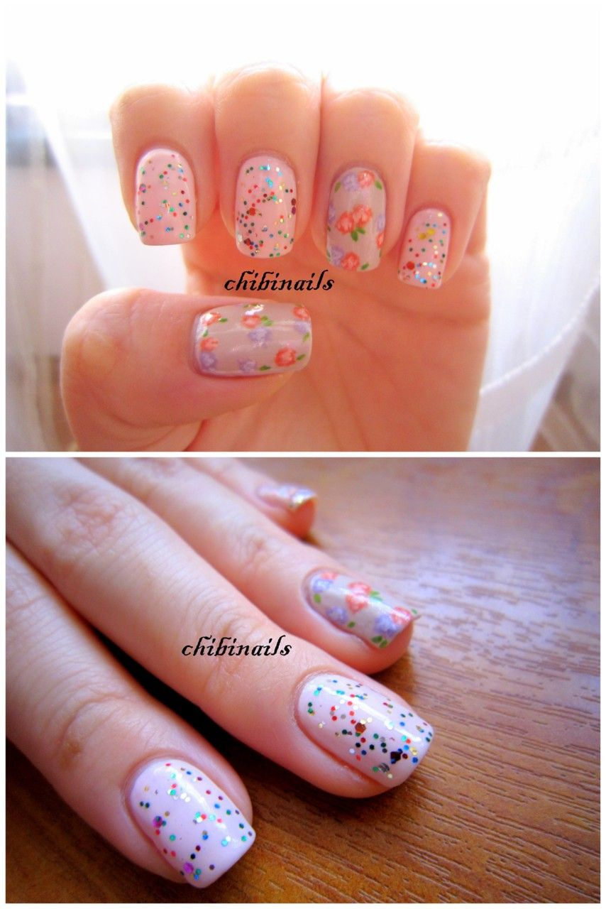 glitter and floral nail art