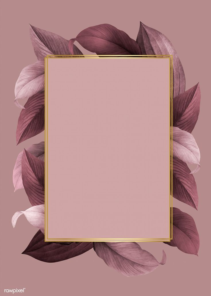 Golden frame on a pink leafy background vector | f... - #Background #Frame #Golden #Leafy #Pink #vector #wallpaperbackgrounds