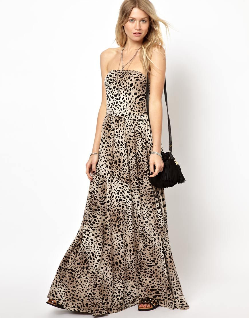 bf215cf981 animal print bandeau maxi Animal Print Maxi Dresses, Asos Dress, Jeweled  Shoes, Cute