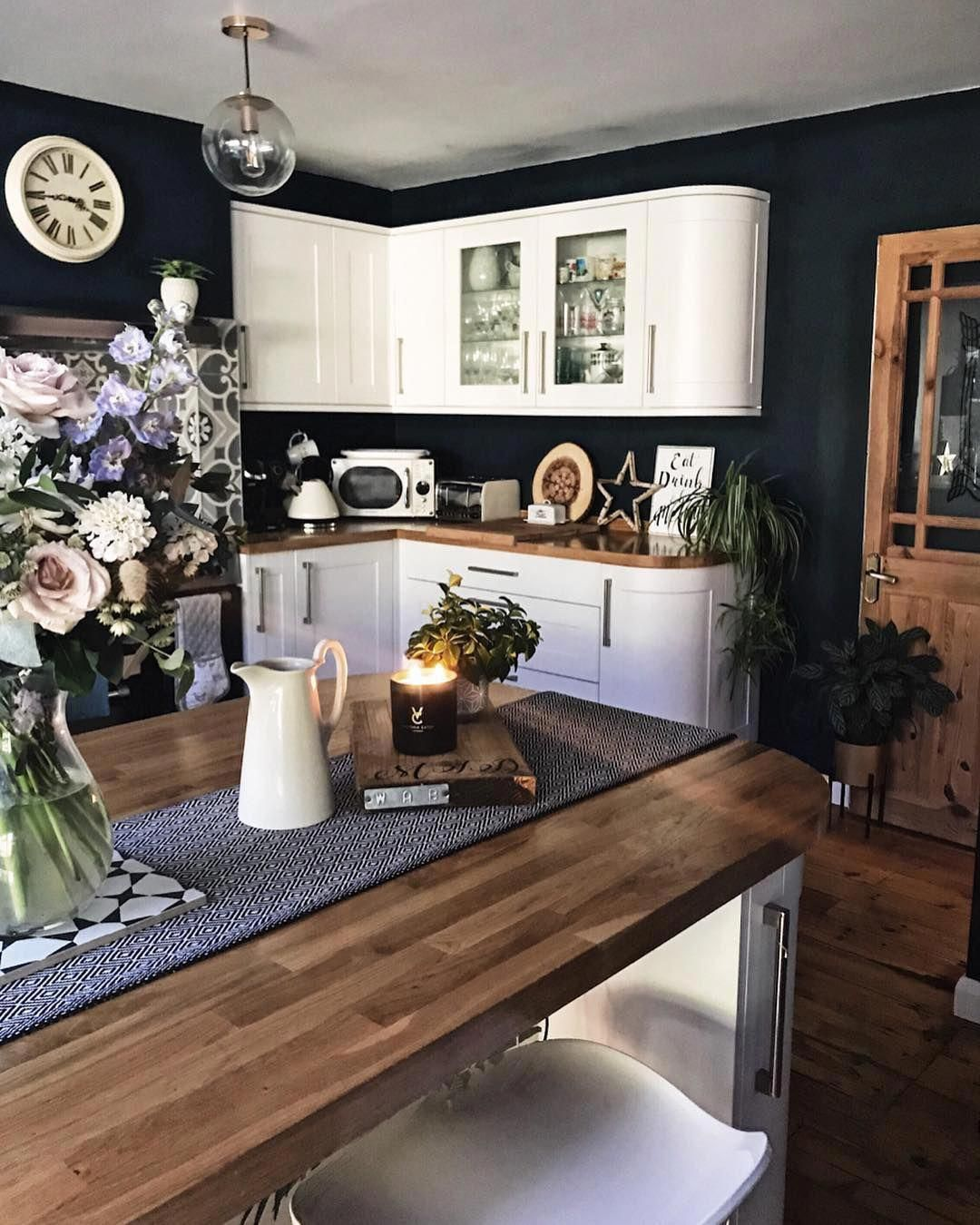 Adopt slate paint all over the house   Blue kitchen walls ...