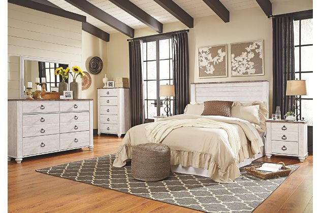 Willowton Two Tone White And Brown Casual Bedroom Furniture Set With Headboard