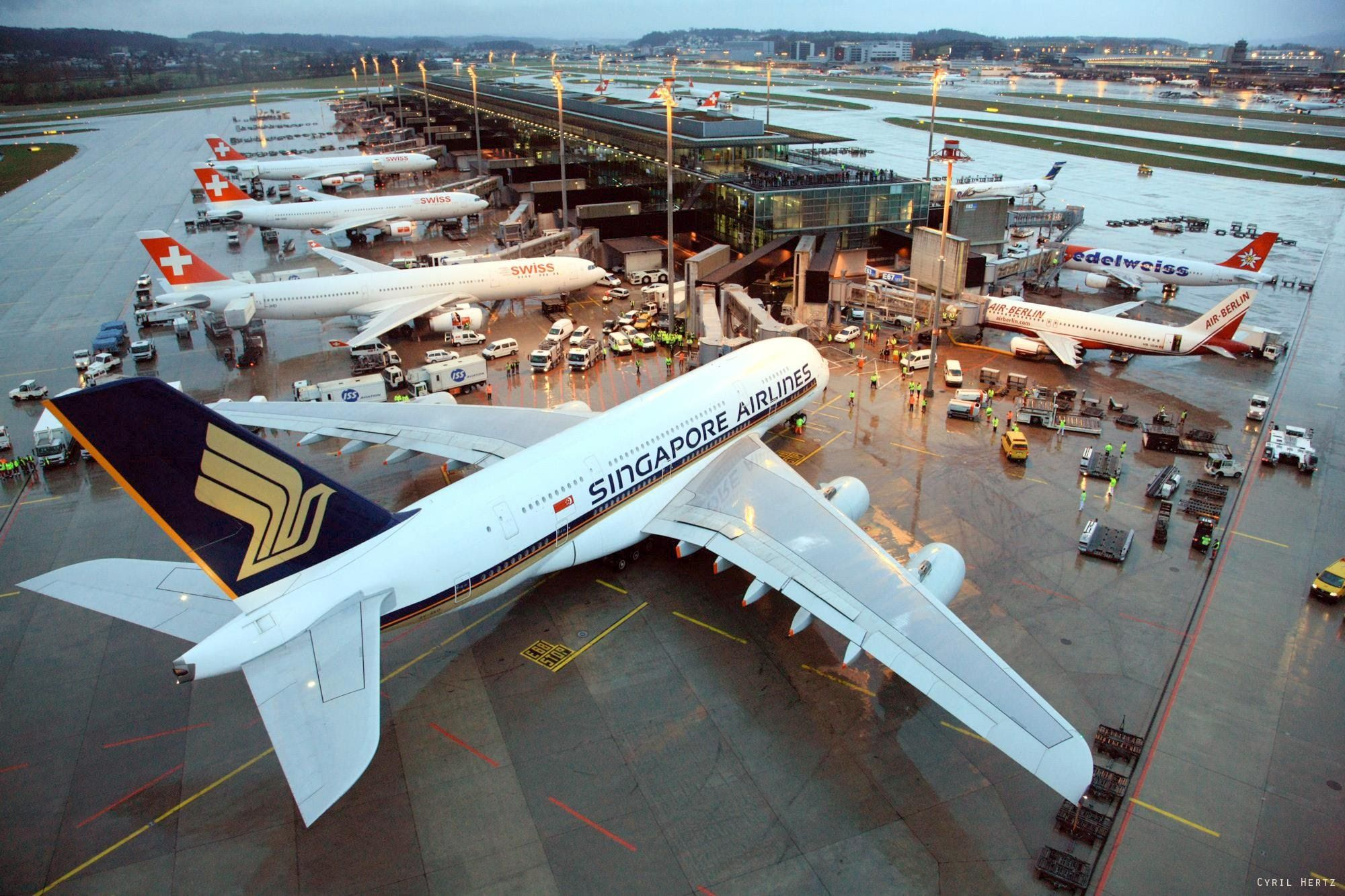 Airbus A380 Singapore Airlines First Time In Zurich Singapore Airlines Airbus A380 Airbus