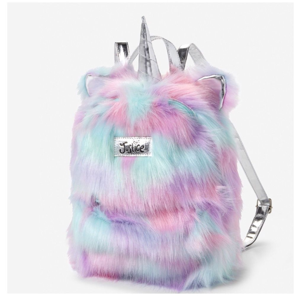 Justice S Magical Unicorn Faux Fur Silver Pastels Mini Backpack Bag Nwt