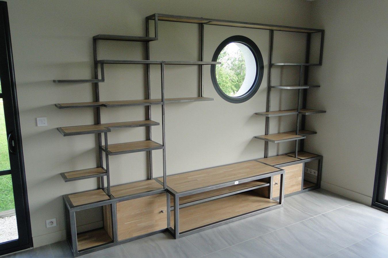 Conception Et Fabrication De Mobilier Contemporain Acier Bois  # Fabriquer Bibliotheque En Bois