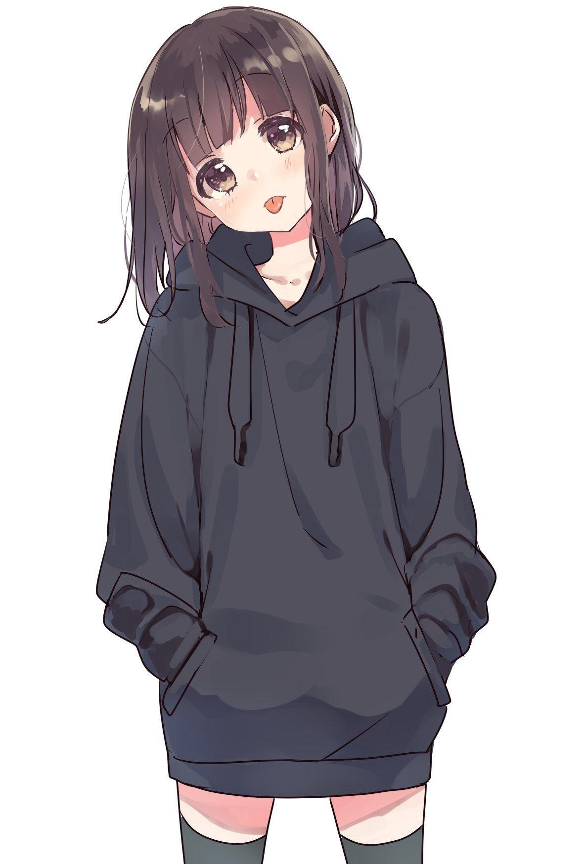 Hoodie Anime Girl Drawing : hoodie, anime, drawing, Anime, Tasty, Thighs