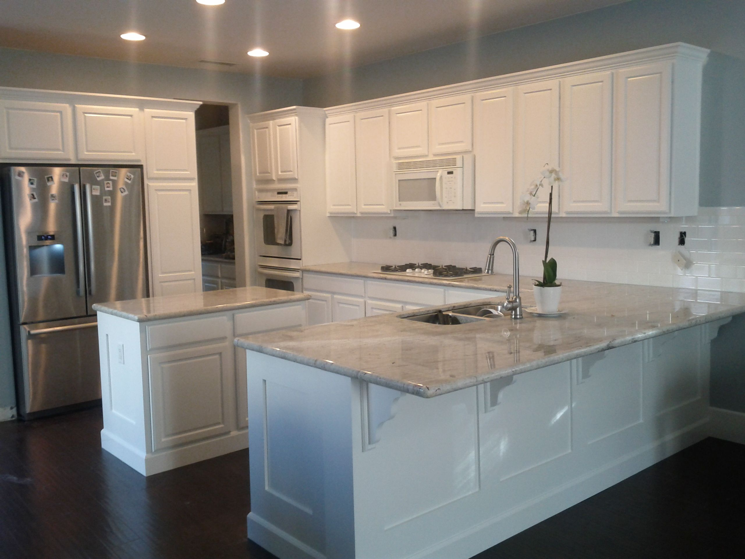My New Kitchen River White Granite Benjamin Moore White Dove Paint Subway Tile Back Splash