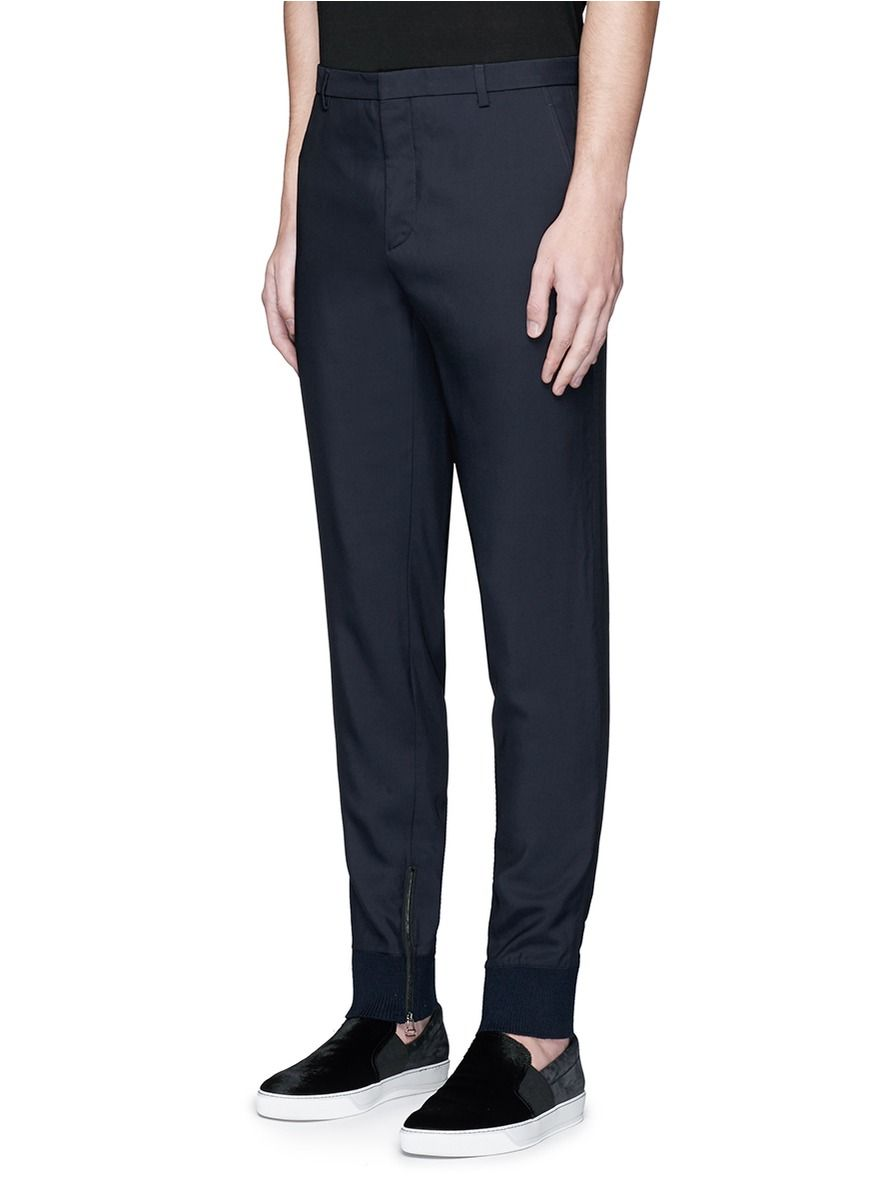 LANVIN - Zip rib cuff jogging pants | Blue Casual Pants Pants & Shorts | Men