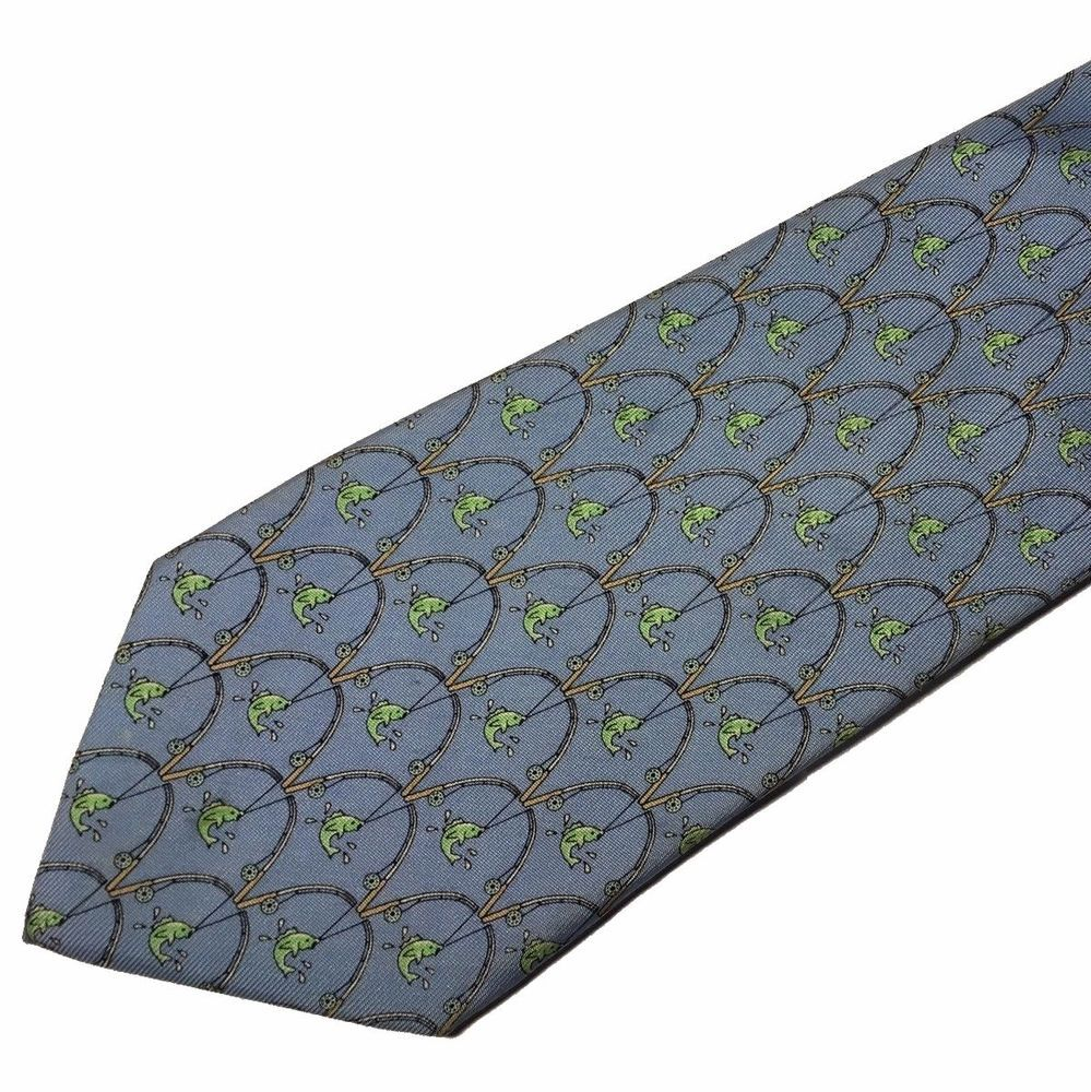 vineyard vines blue fly fishing silk necktie tie marthas vineyard
