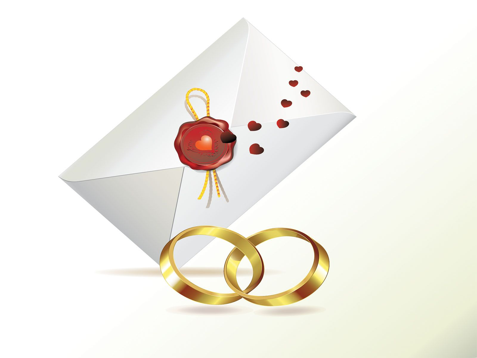 Wedding Invitation And Rings Powerpoint Templates  Love Ppt
