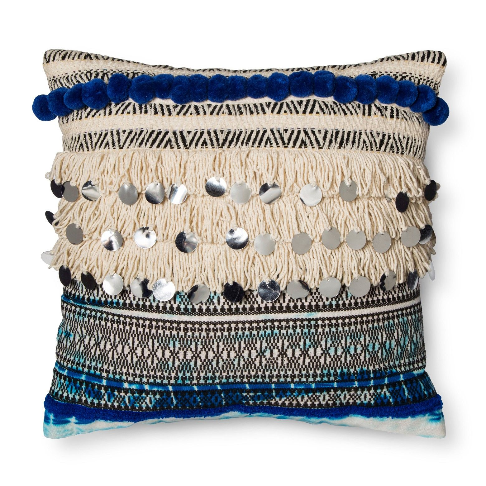 Blue Fringe and Sequins Throw Pillow - Xhilaration | Spot cleaner ...
