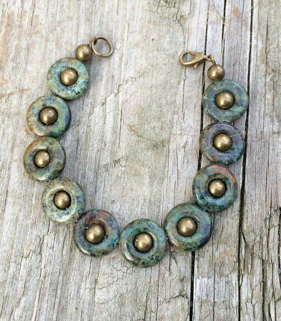 Bracciale in ottone turchese africano di verde e anticato,