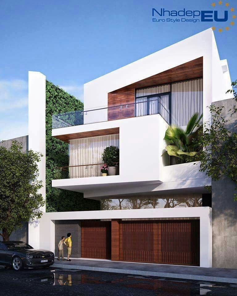 Gardens modern and contemporary houses on pinterest for Townhouse modern design exterior