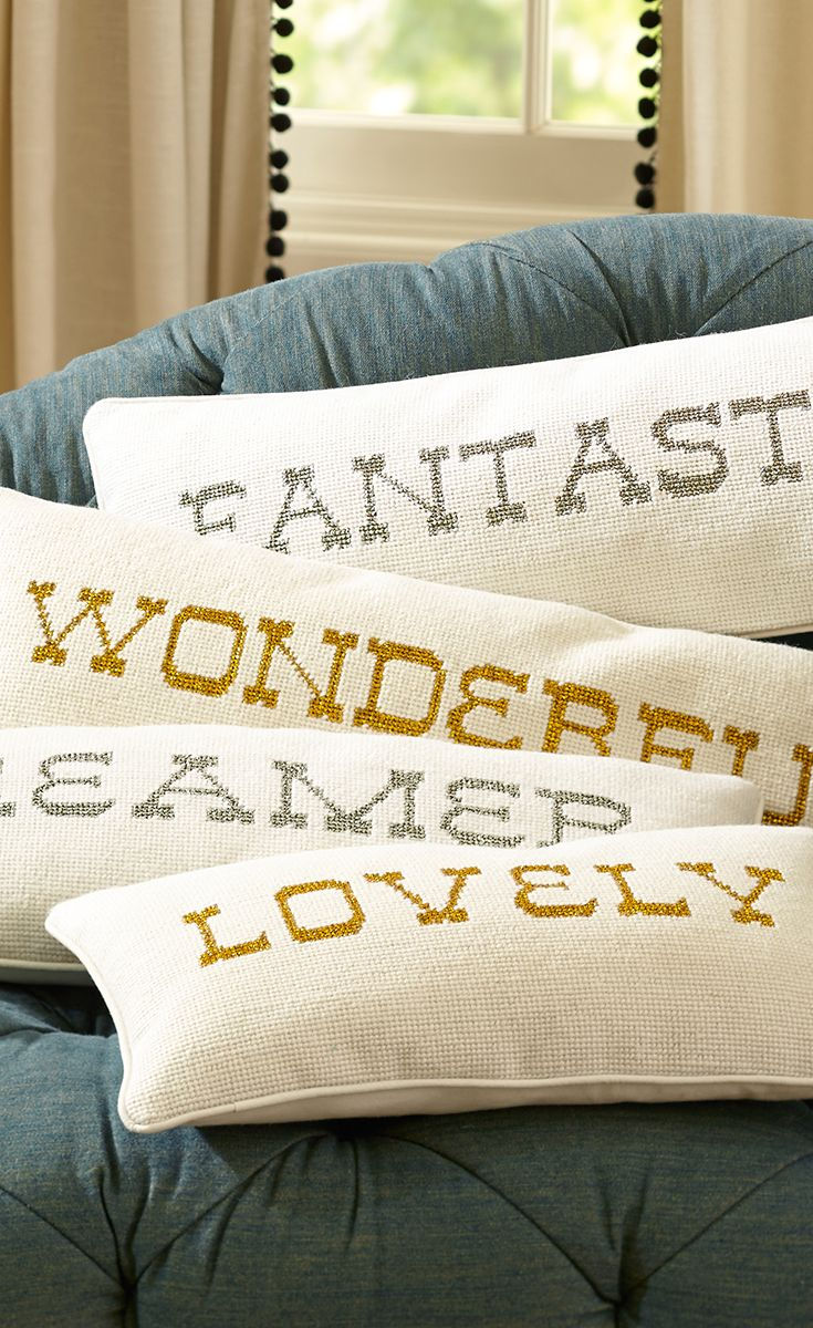 The Emily + Meritt Shimmer Needlepoint Word Pillow reg. price $59.50 SALE $46.99 – $59.50 Visit bit.ly/emilyandmerittforpbteen  Or call 1-866-472-4001 to pre-order this item.