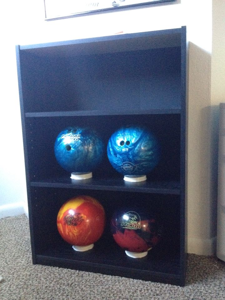 Diy Bowling Ball Rack 20 Bookcase From 3 Pvc Cut To About 1 2 Width Liquid Nails